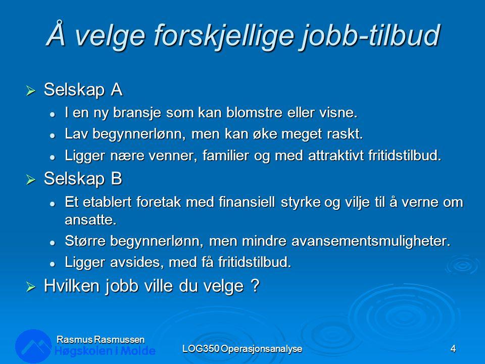 Å velge forskjellige jobb-tilbud