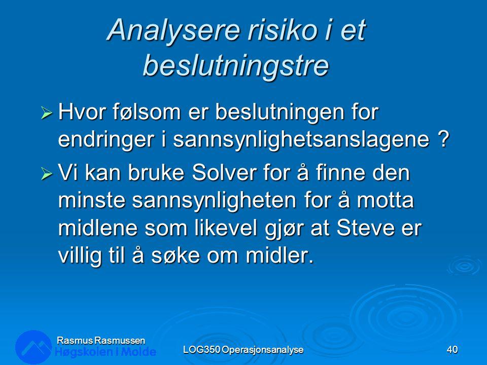 Analysere risiko i et beslutningstre