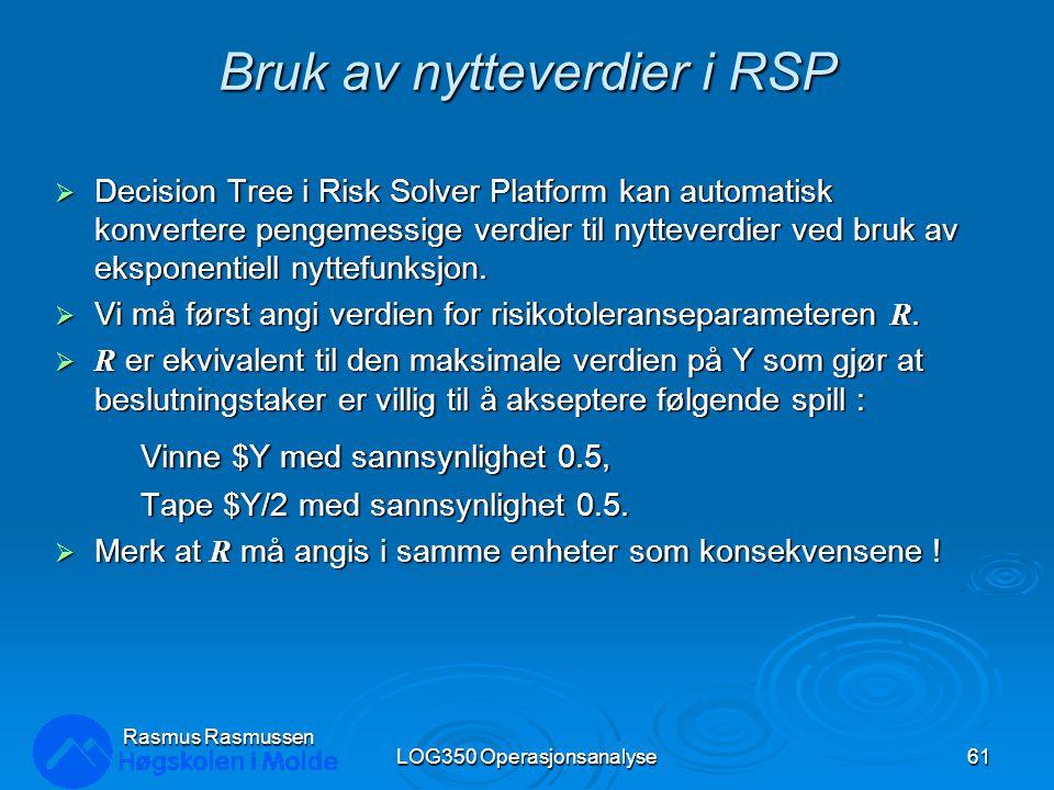 Bruk av nytteverdier i RSP