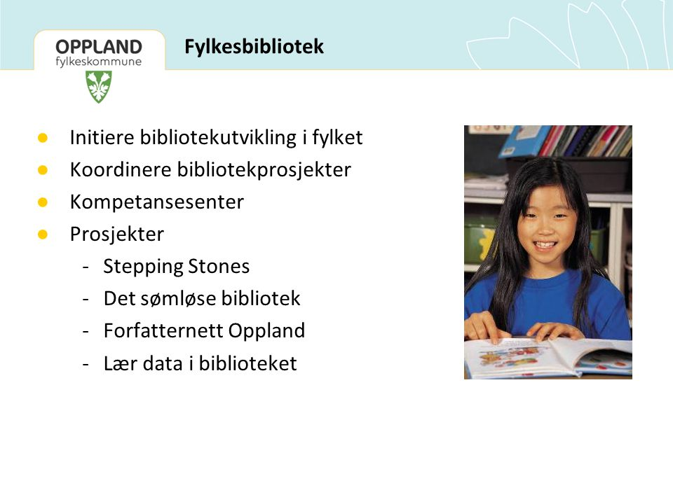 Initiere bibliotekutvikling i fylket Koordinere bibliotekprosjekter