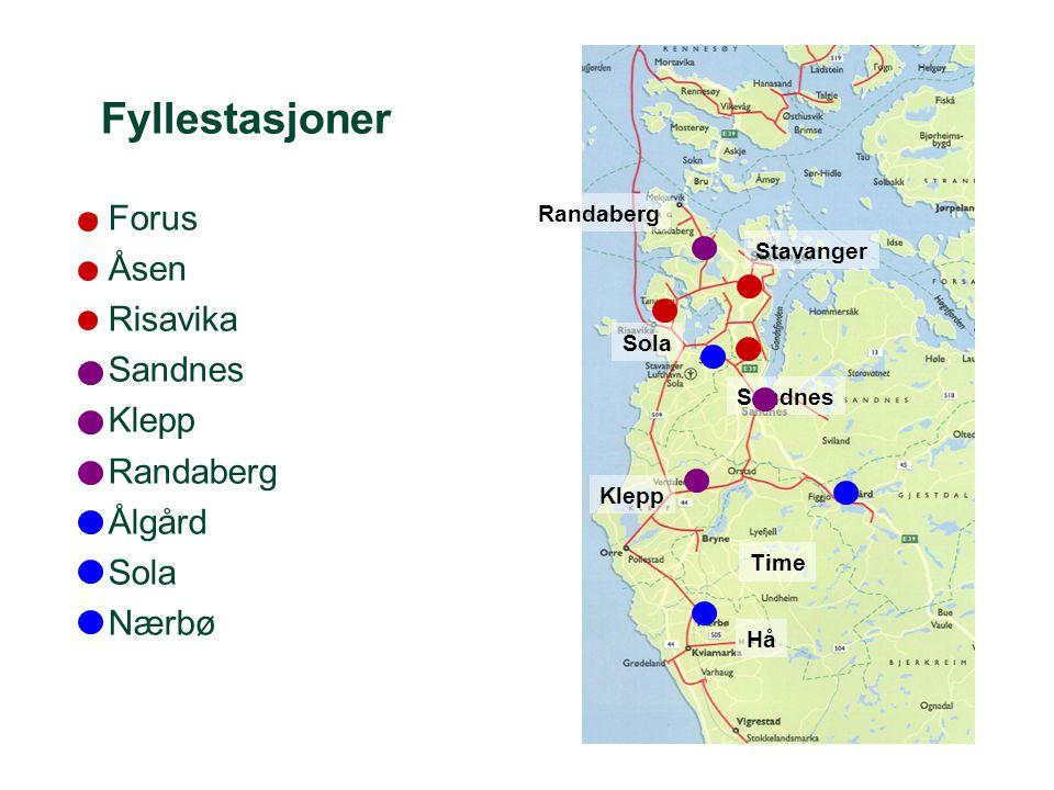 Fyllestasjoner Forus Åsen Risavika Sandnes Klepp Randaberg Ålgård Sola
