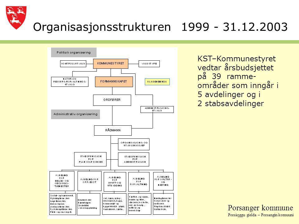 Organisasjonsstrukturen 1999 - 31.12.2003
