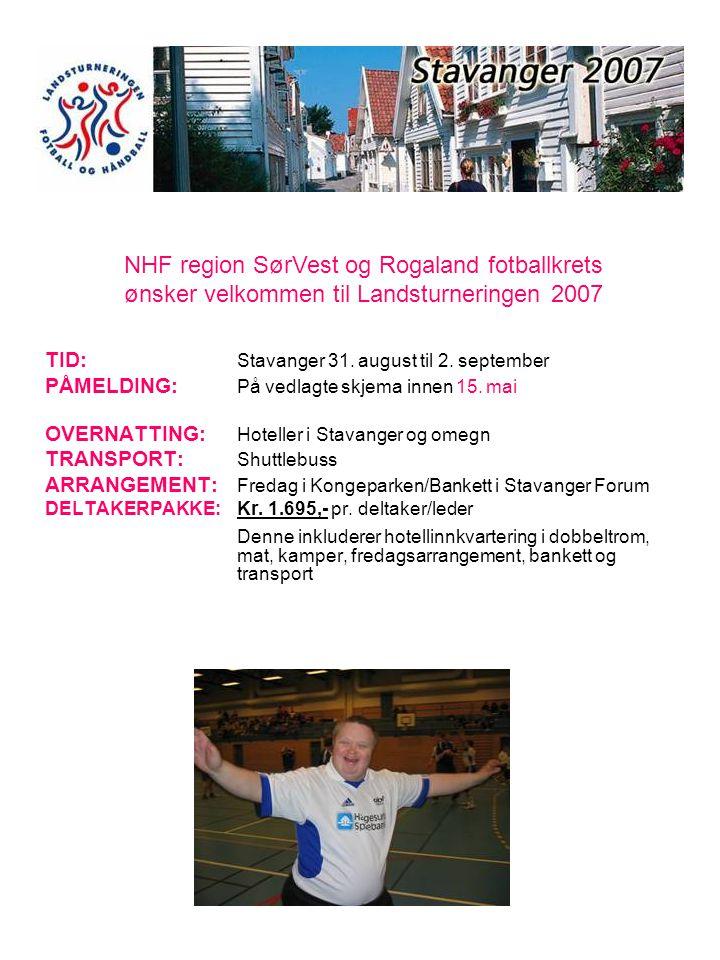 NHF region SørVest og Rogaland fotballkrets ønsker velkommen til Landsturneringen 2007