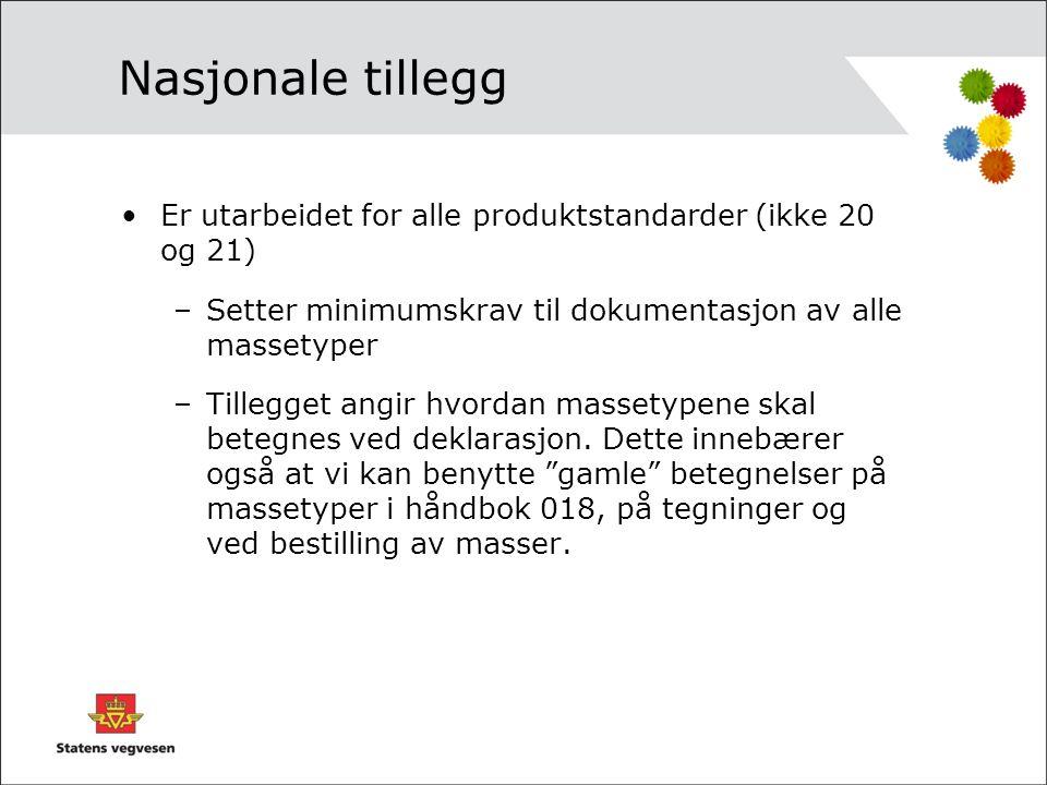 Nasjonale tillegg Er utarbeidet for alle produktstandarder (ikke 20 og 21) Setter minimumskrav til dokumentasjon av alle massetyper.