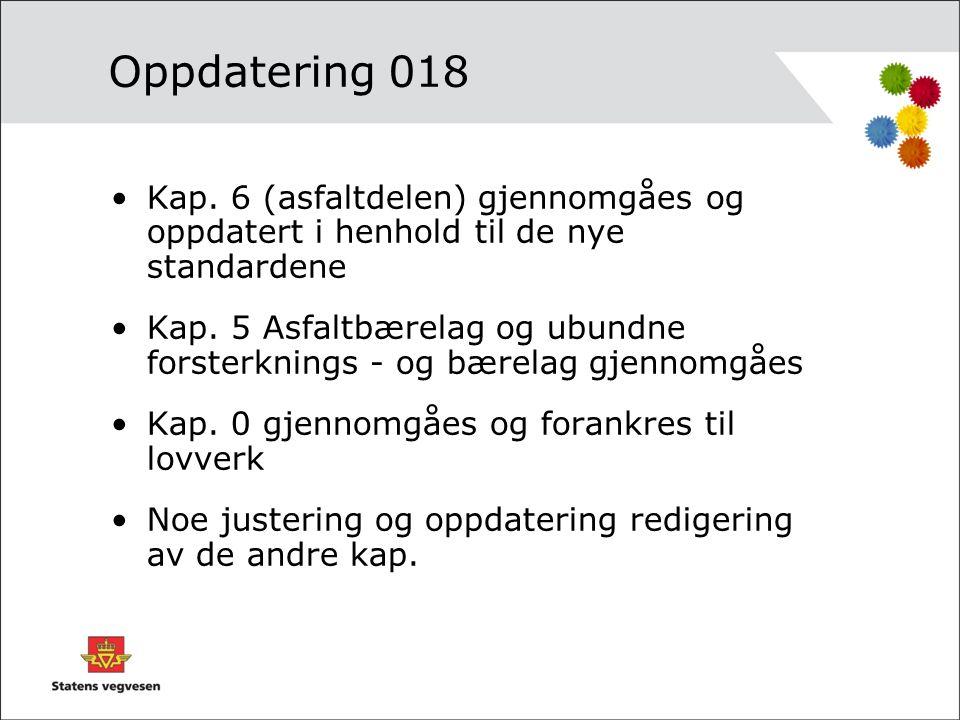Oppdatering 018 Kap. 6 (asfaltdelen) gjennomgåes og oppdatert i henhold til de nye standardene.