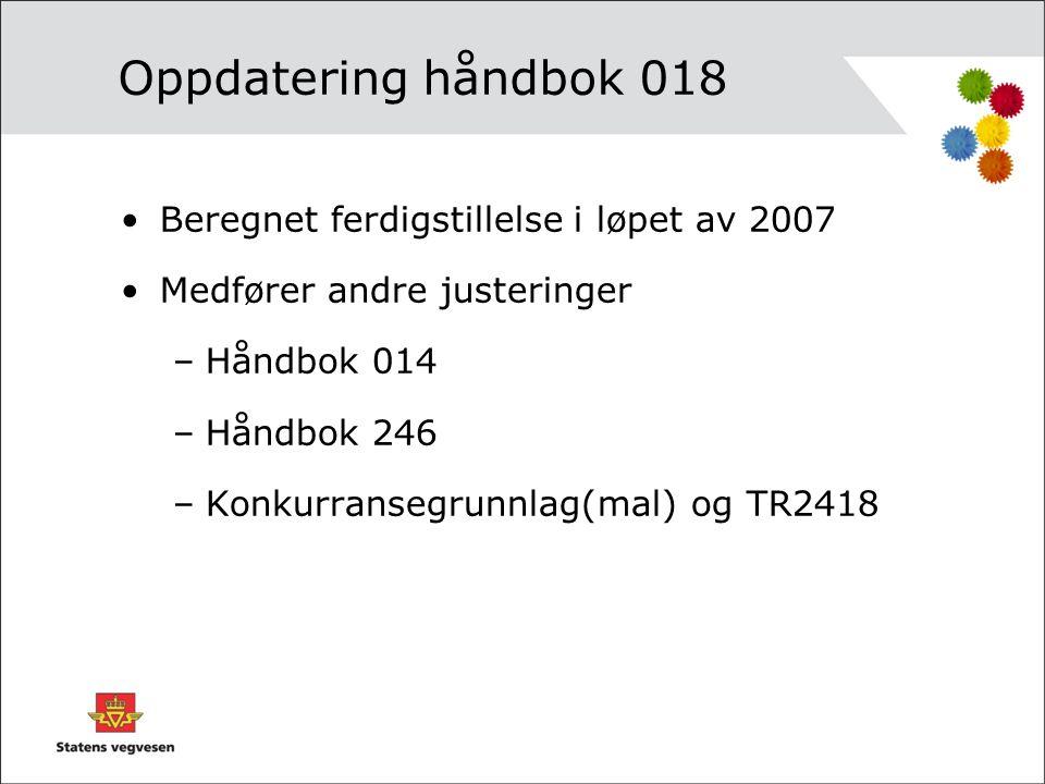 Oppdatering håndbok 018 Beregnet ferdigstillelse i løpet av 2007