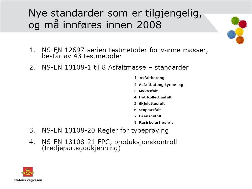 Nye standarder som er tilgjengelig, og må innføres innen 2008