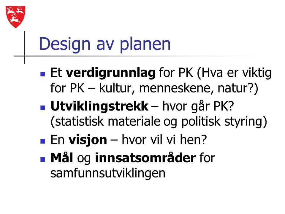 Design av planen Et verdigrunnlag for PK (Hva er viktig for PK – kultur, menneskene, natur )