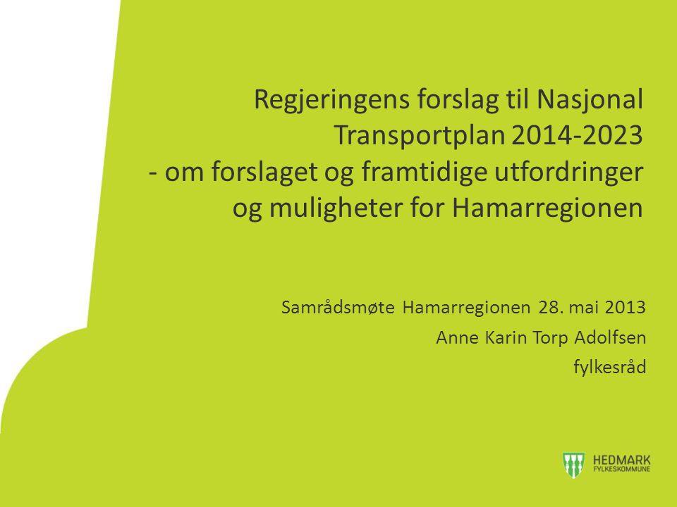 Regjeringens forslag til Nasjonal Transportplan 2014-2023 - om forslaget og framtidige utfordringer og muligheter for Hamarregionen