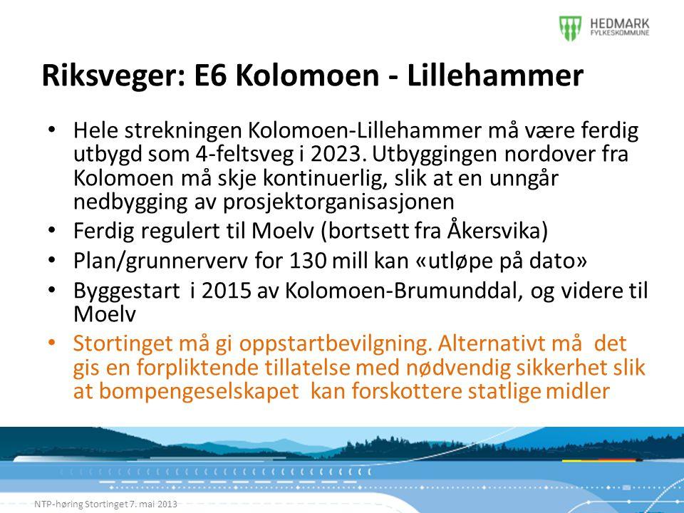 Riksveger: E6 Kolomoen - Lillehammer