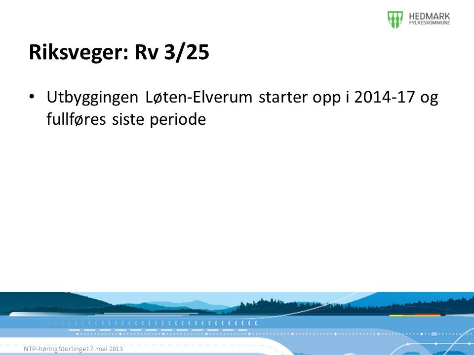 Riksveger: Rv 3/25 Utbyggingen Løten-Elverum starter opp i 2014-17 og fullføres siste periode.