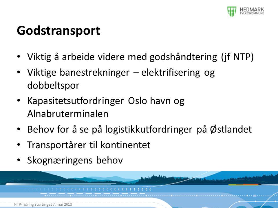 Godstransport Viktig å arbeide videre med godshåndtering (jf NTP)