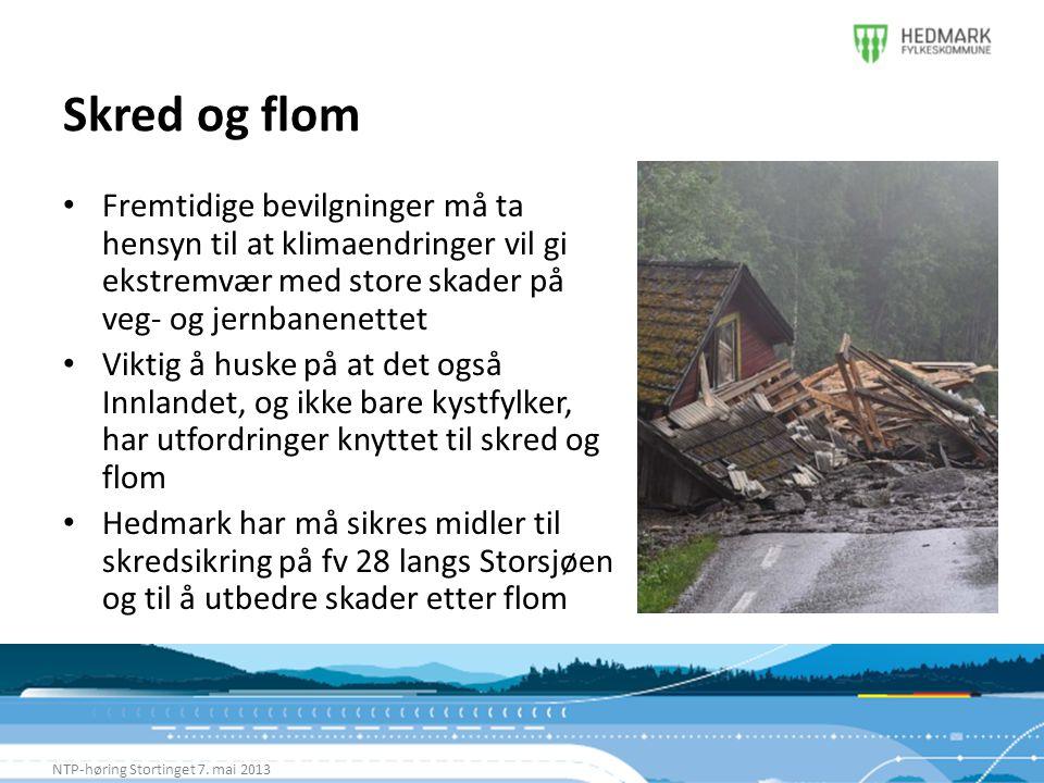 Skred og flom Fremtidige bevilgninger må ta hensyn til at klimaendringer vil gi ekstremvær med store skader på veg- og jernbanenettet.