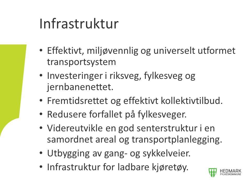 Infrastruktur Effektivt, miljøvennlig og universelt utformet transportsystem. Investeringer i riksveg, fylkesveg og jernbanenettet.