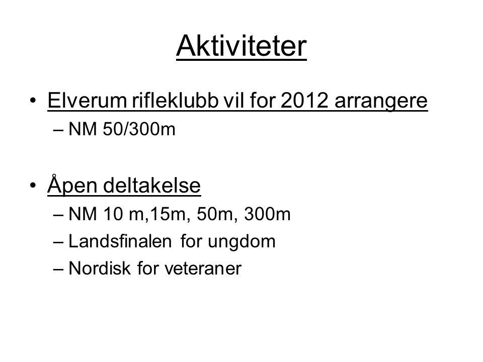 Aktiviteter Elverum rifleklubb vil for 2012 arrangere Åpen deltakelse
