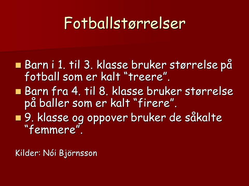 Fotballstørrelser Barn i 1. til 3. klasse bruker størrelse på fotball som er kalt treere .