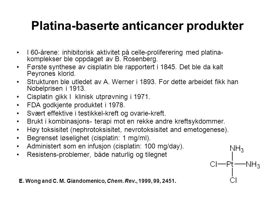 Platina-baserte anticancer produkter