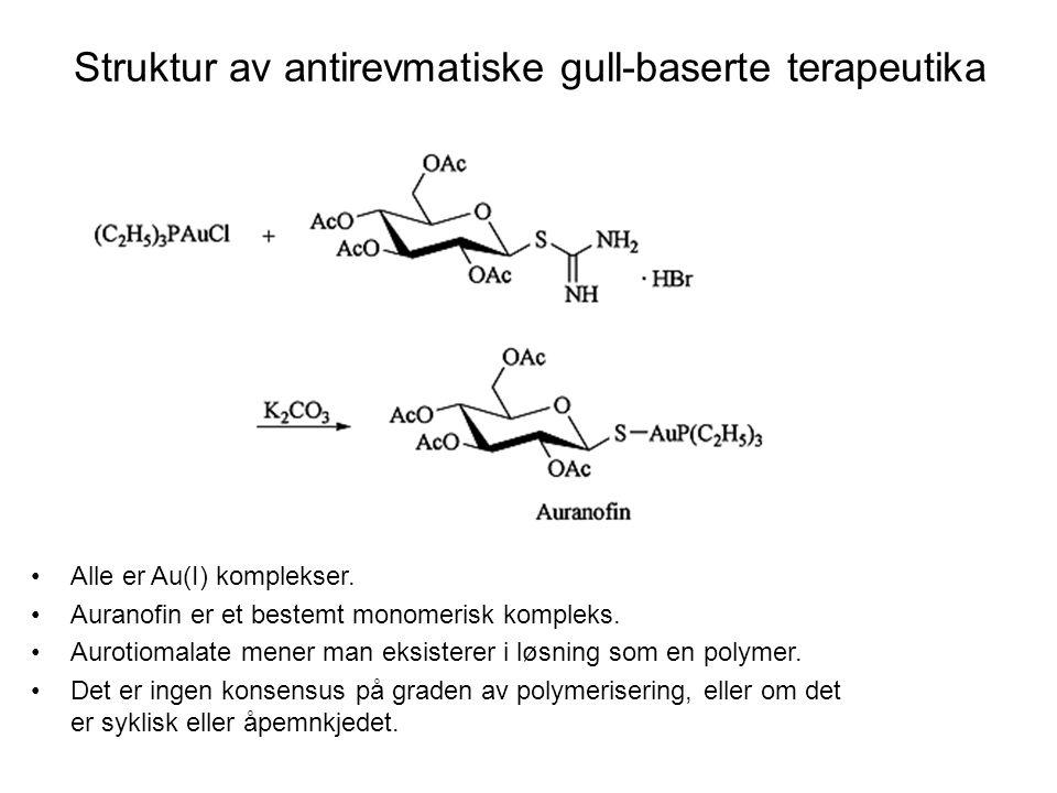 Struktur av antirevmatiske gull-baserte terapeutika
