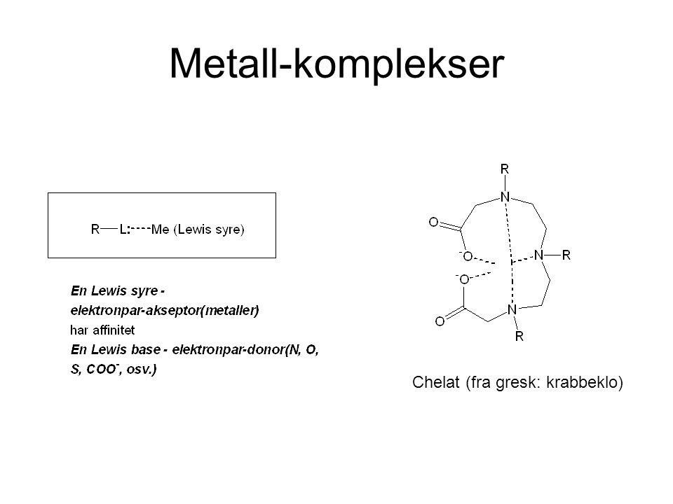 Metall-komplekser Chelat (fra gresk: krabbeklo)