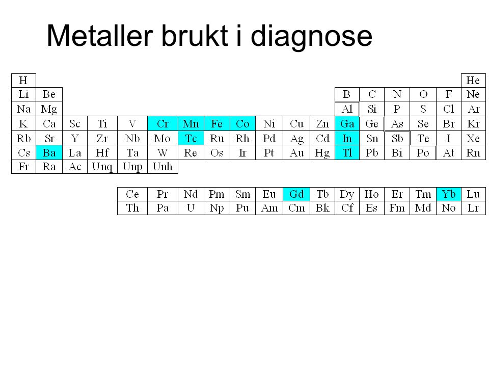 Metaller brukt i diagnose