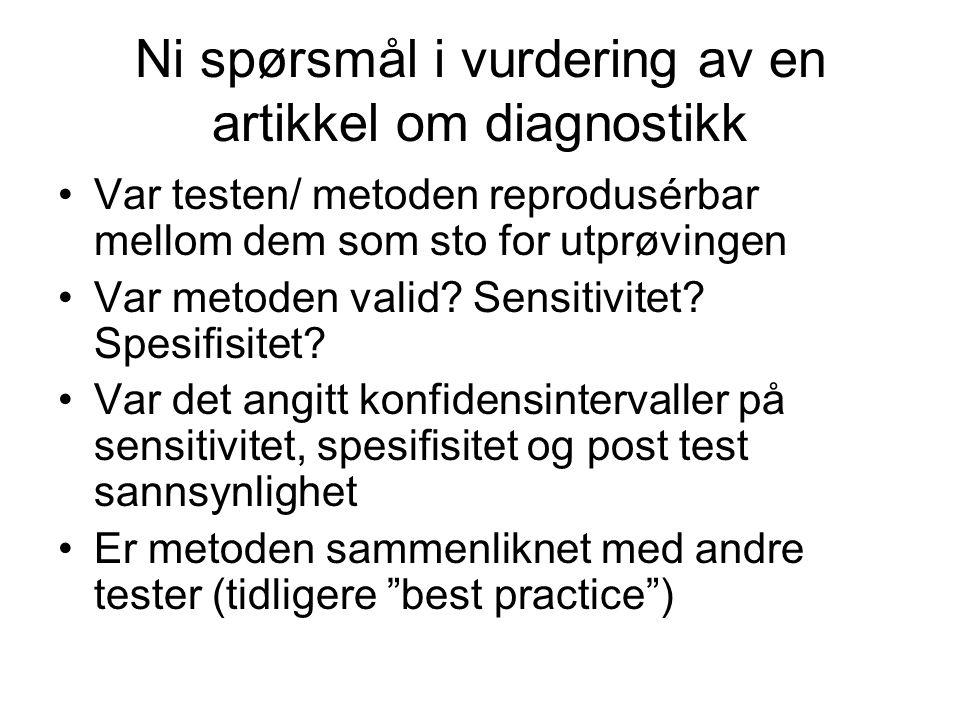 Ni spørsmål i vurdering av en artikkel om diagnostikk