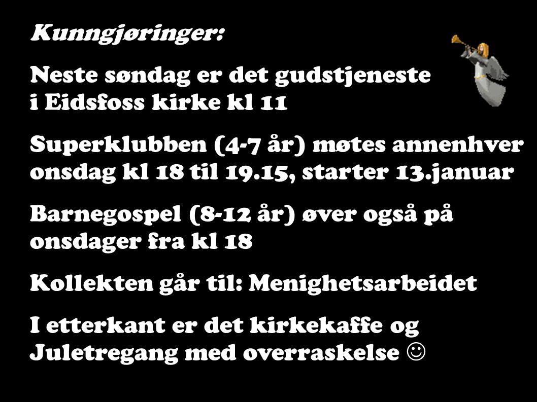 Kunngjøringer: Neste søndag er det gudstjeneste. i Eidsfoss kirke kl 11. Superklubben (4-7 år) møtes annenhver.