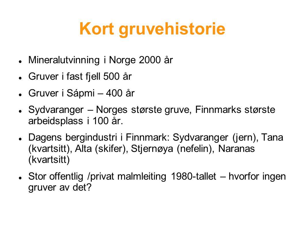 Kort gruvehistorie Mineralutvinning i Norge 2000 år