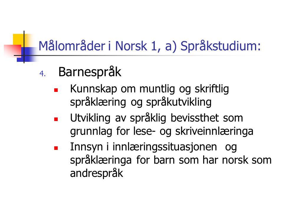 Målområder i Norsk 1, a) Språkstudium: