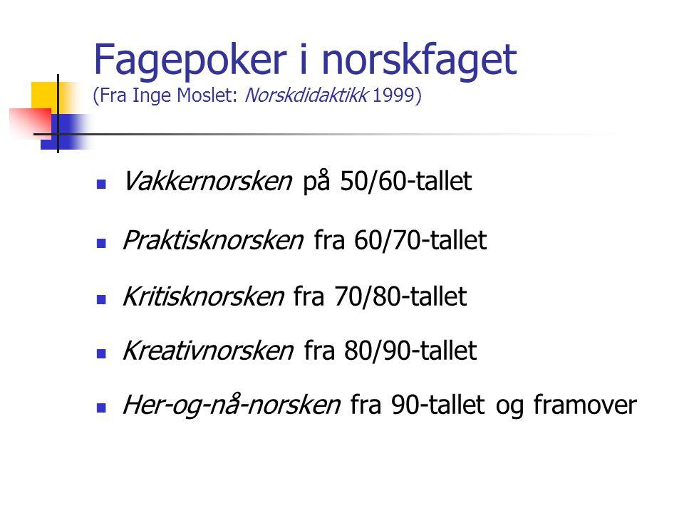 Fagepoker i norskfaget (Fra Inge Moslet: Norskdidaktikk 1999)