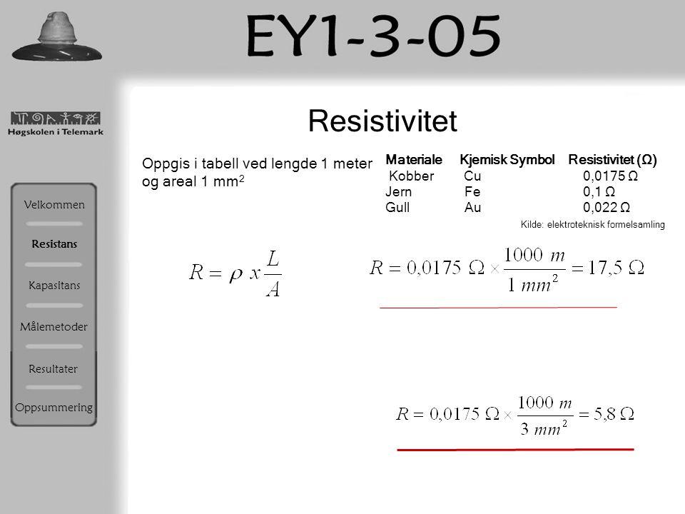 Resistivitet Oppgis i tabell ved lengde 1 meter og areal 1 mm2