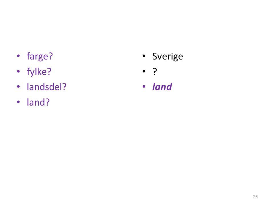 farge fylke landsdel land Sverige land