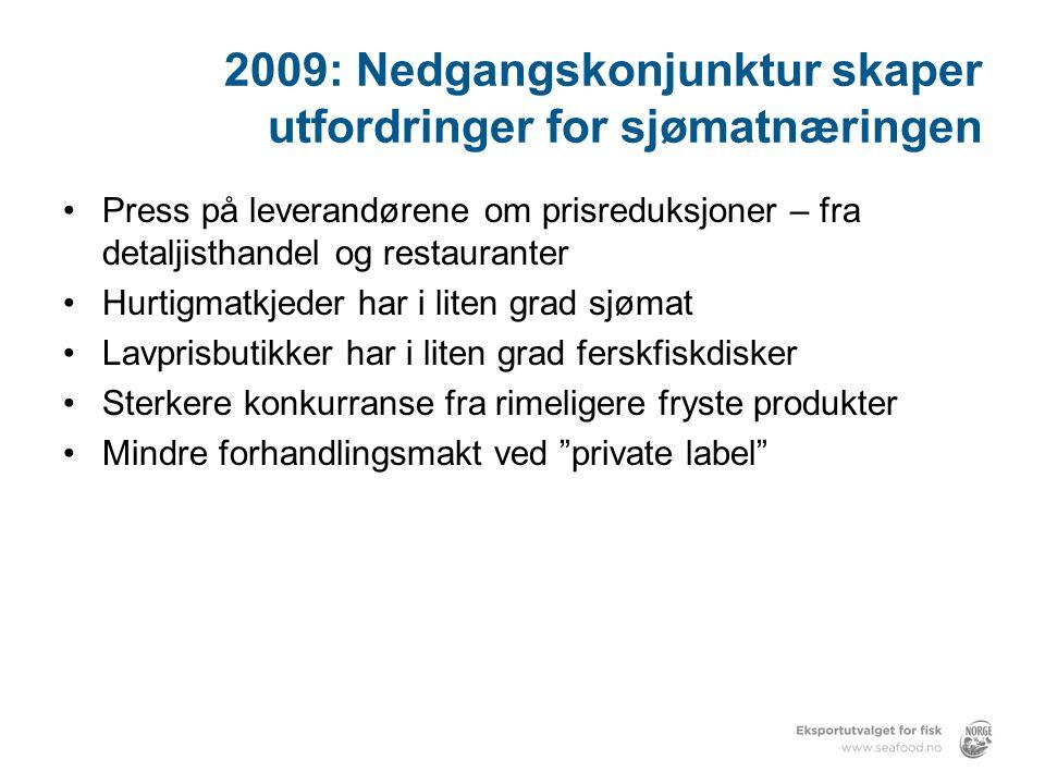 2009: Nedgangskonjunktur skaper utfordringer for sjømatnæringen