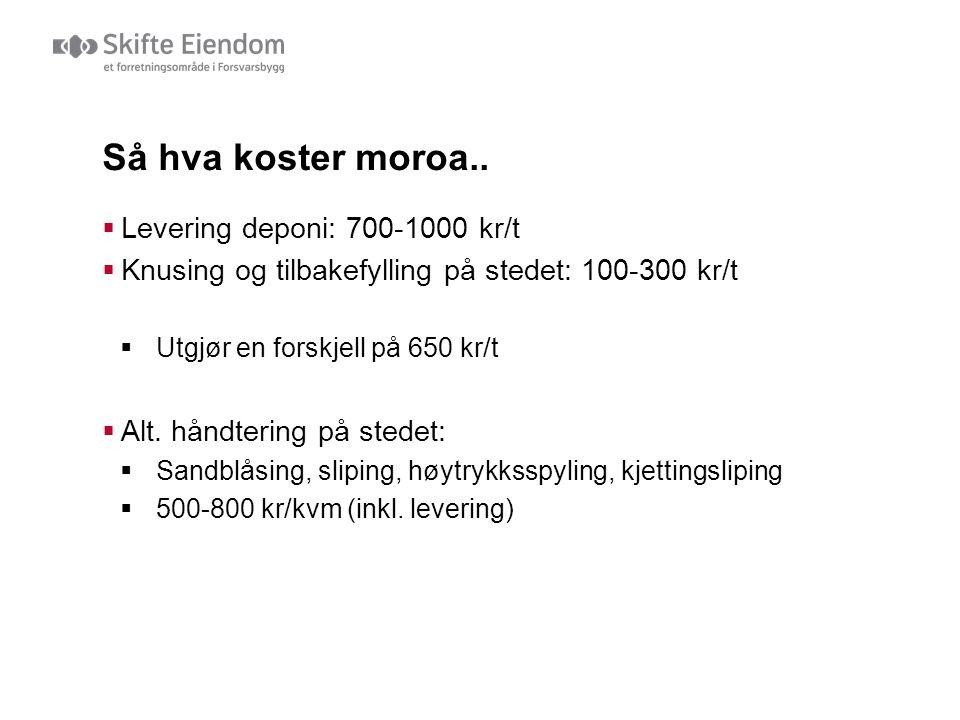 Så hva koster moroa.. Levering deponi: 700-1000 kr/t