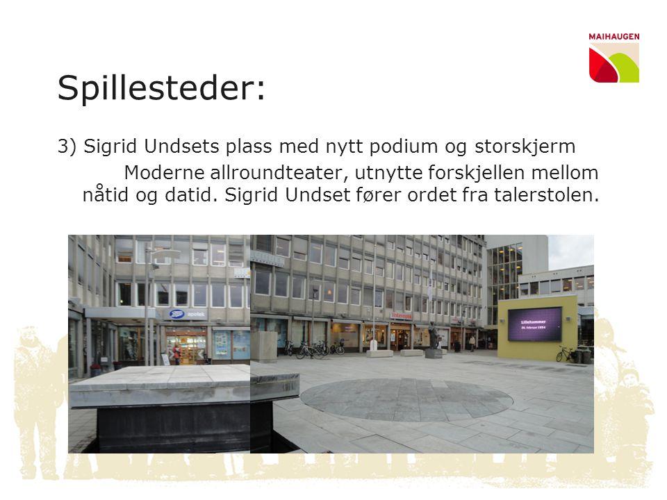 Spillesteder: 3) Sigrid Undsets plass med nytt podium og storskjerm