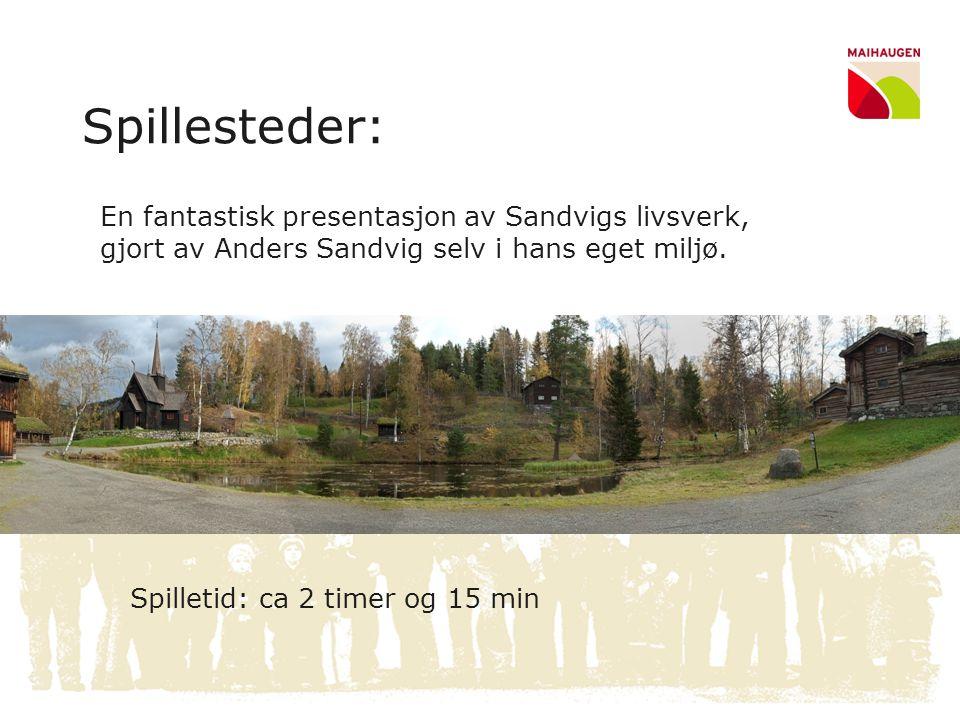 Spillesteder: En fantastisk presentasjon av Sandvigs livsverk, gjort av Anders Sandvig selv i hans eget miljø.