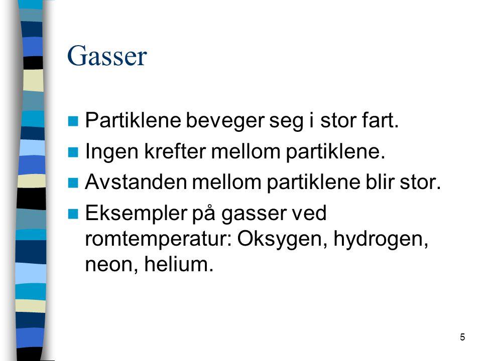 Gasser Partiklene beveger seg i stor fart.
