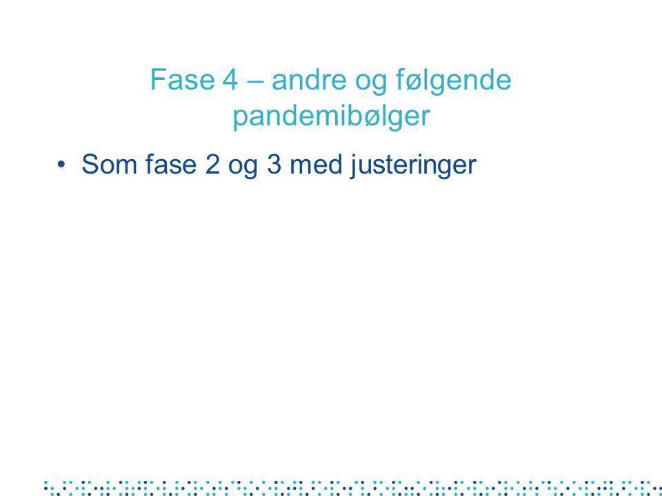Fase 4 – andre og følgende pandemibølger