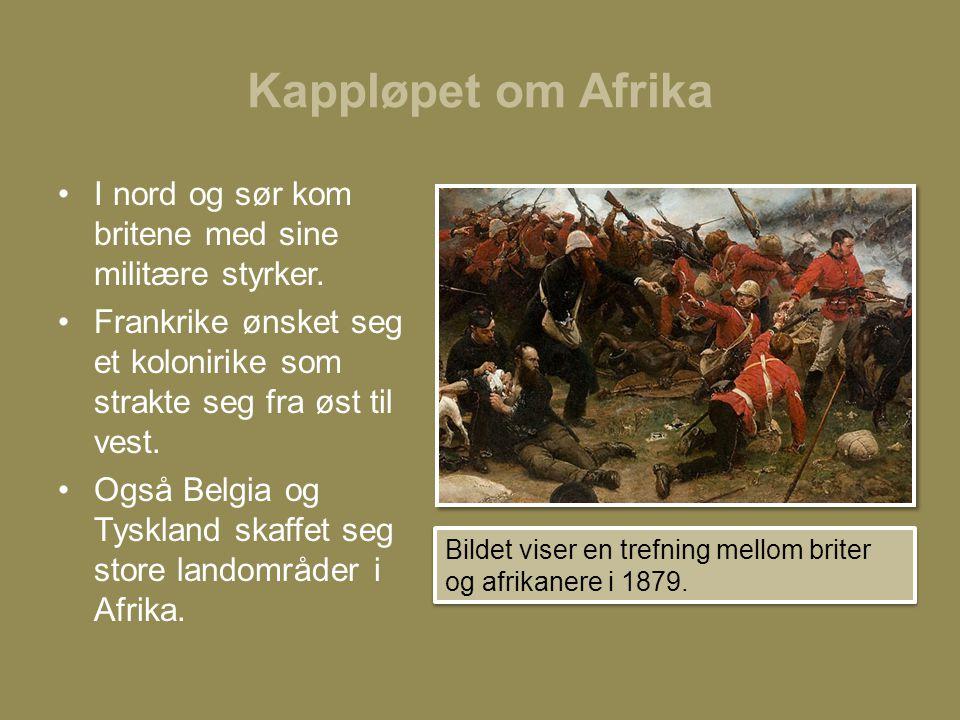 Kappløpet om Afrika I nord og sør kom britene med sine militære styrker. Frankrike ønsket seg et kolonirike som strakte seg fra øst til vest.