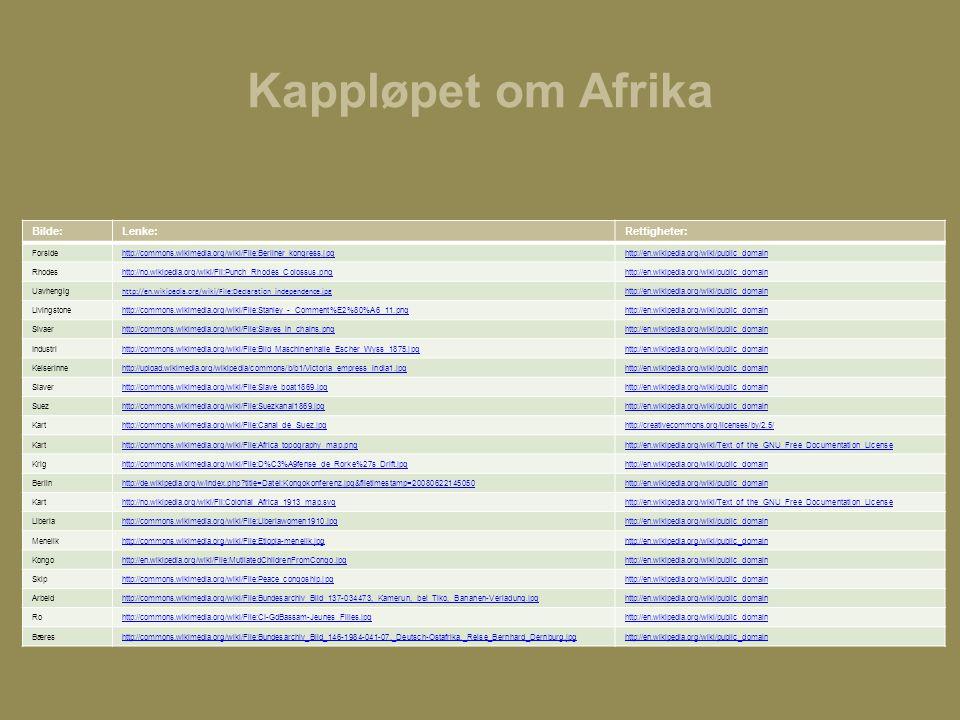 Kappløpet om Afrika Bilde: Lenke: Rettigheter: Forside