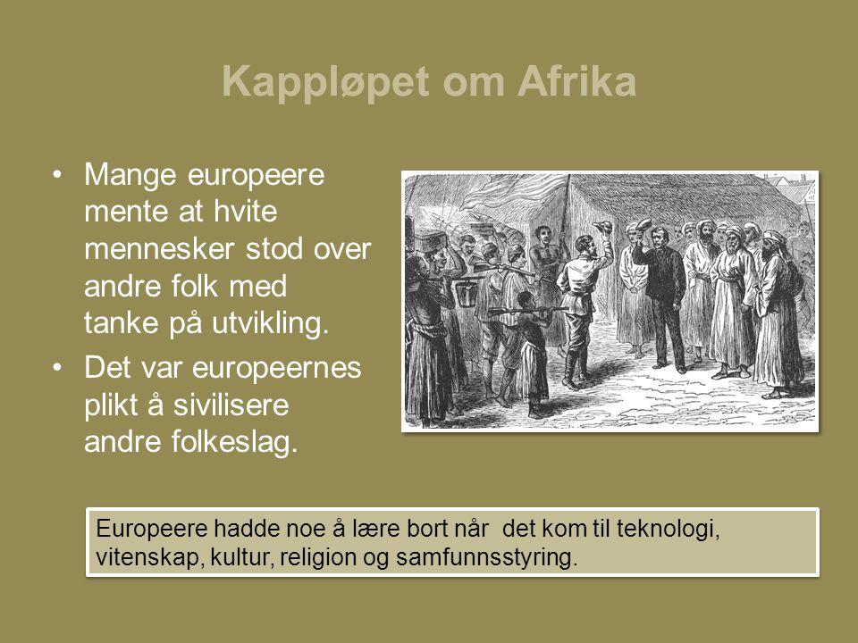 Kappløpet om Afrika Mange europeere mente at hvite mennesker stod over andre folk med tanke på utvikling.