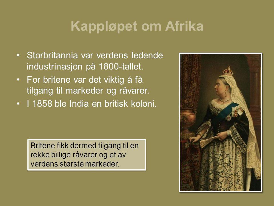 Kappløpet om Afrika Storbritannia var verdens ledende industrinasjon på 1800-tallet.