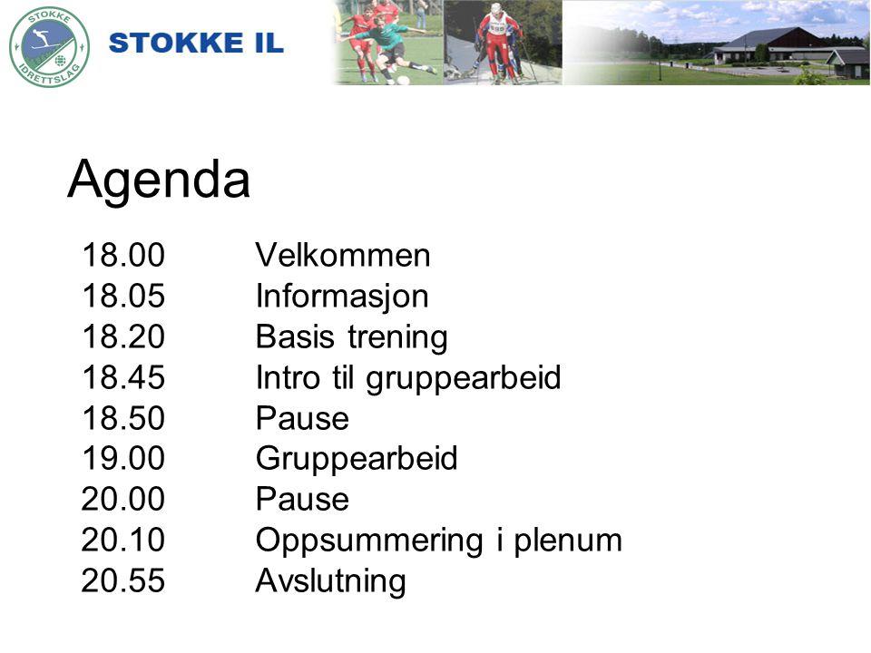 Agenda 18.00 Velkommen 18.05 Informasjon 18.20 Basis trening