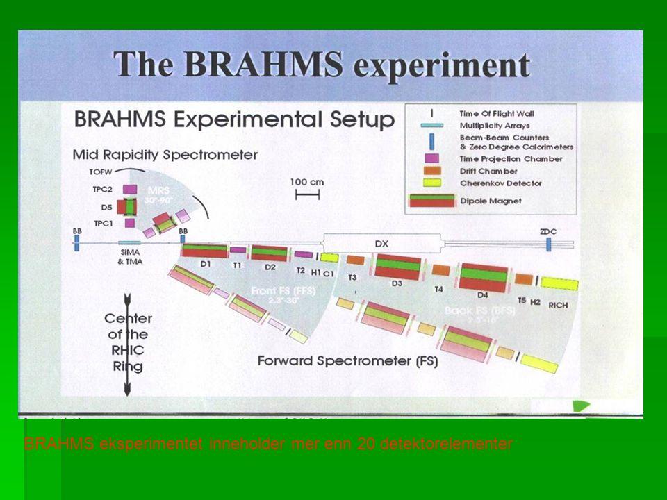 BRAHMS eksperimentet inneholder mer enn 20 detektorelementer