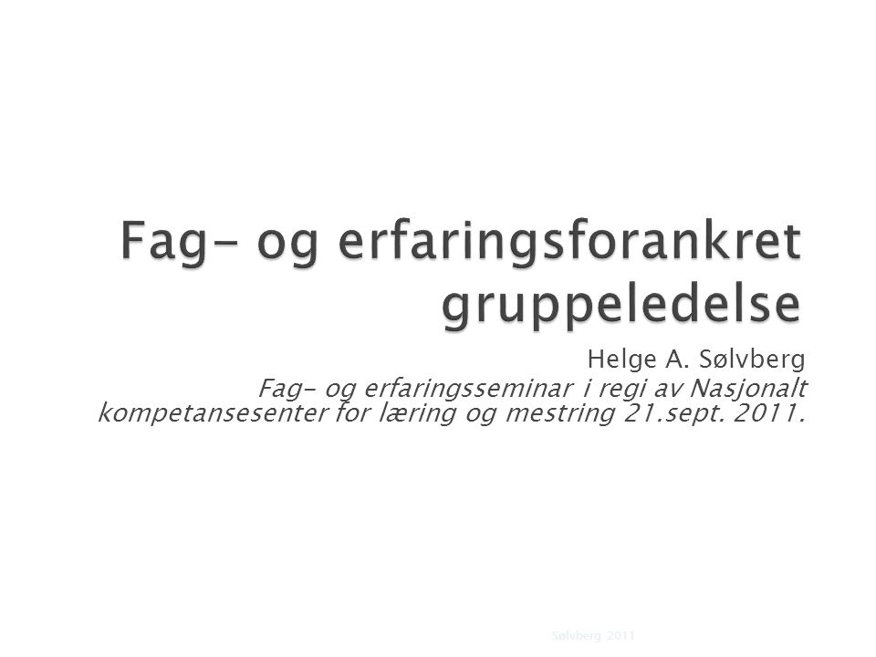 Fag- og erfaringsforankret gruppeledelse