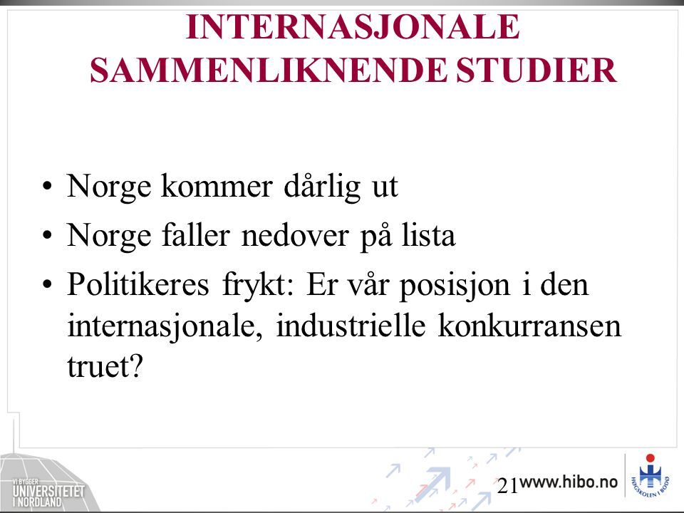 INTERNASJONALE SAMMENLIKNENDE STUDIER