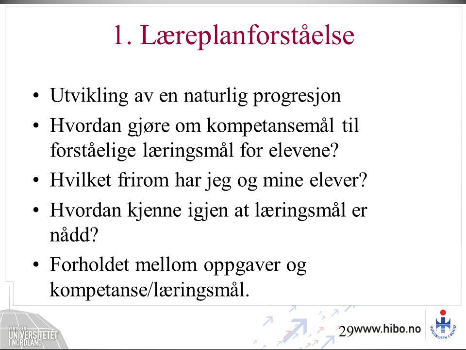 1. Læreplanforståelse Utvikling av en naturlig progresjon