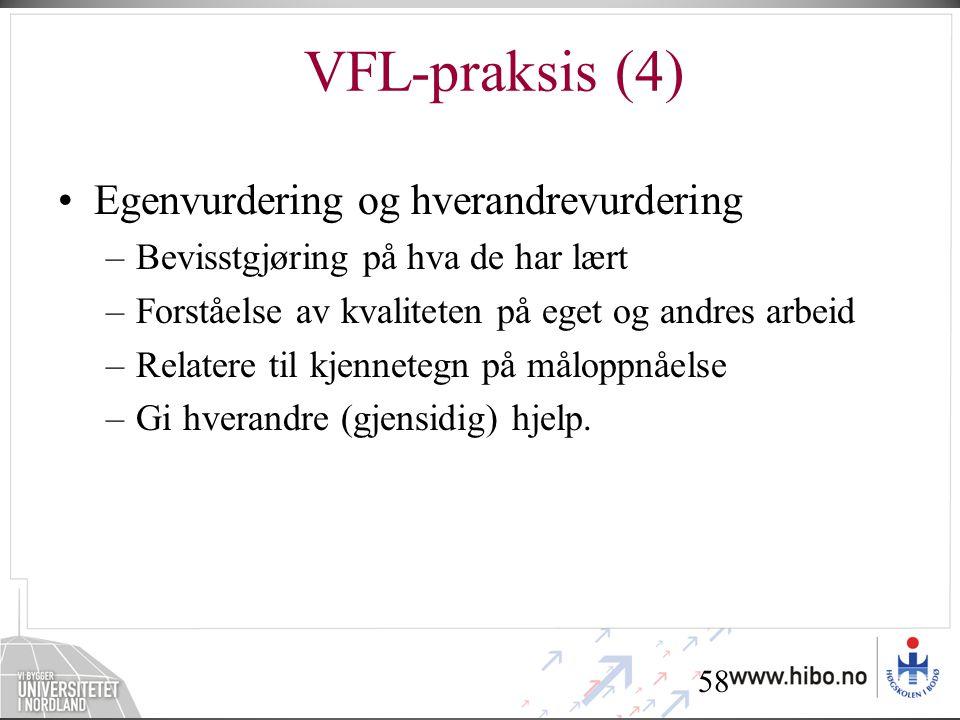 VFL-praksis (4) Egenvurdering og hverandrevurdering