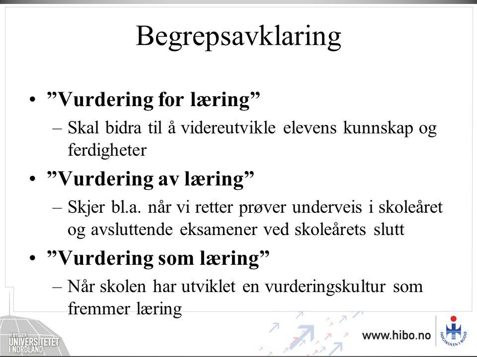 Begrepsavklaring Vurdering for læring Vurdering av læring
