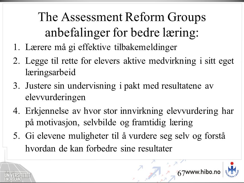 The Assessment Reform Groups anbefalinger for bedre læring: