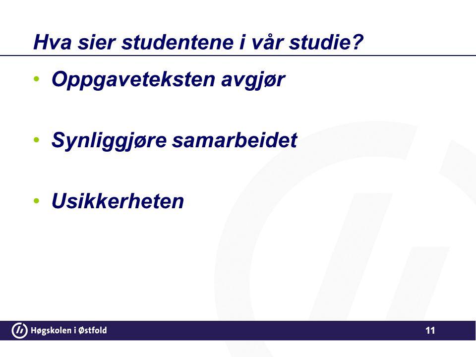 Hva sier studentene i vår studie